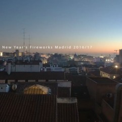 New Year fireworks over Madrid's rooftops